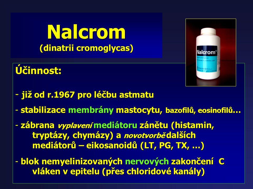 Nalcrom (dinatrii cromoglycas) Tobolky, 100mg Indikace: Potravinová alergie Dávka: (dle letáku): 4x2 – 4x1 15min. před jídlem (dle zkušenosti): (dle z