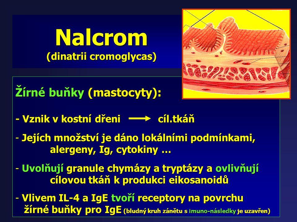 Nalcrom (dinatrii cromoglycas) Účinnost: - již od r.1967 pro léčbu astmatu - stabilizace membrány mastocytu, bazofilů, eosinofilů … - zábrana vyplaven