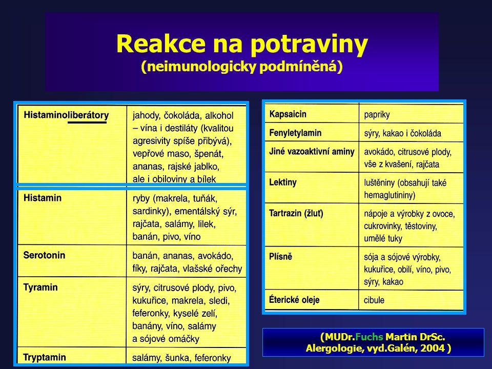 Reakce na potraviny - Nesnášenlivost (laktosová intolerance…) - Alergeny - Aktivátory aminů a neurotransmiterů ( histamin, serotonin, tyramin, tryptam