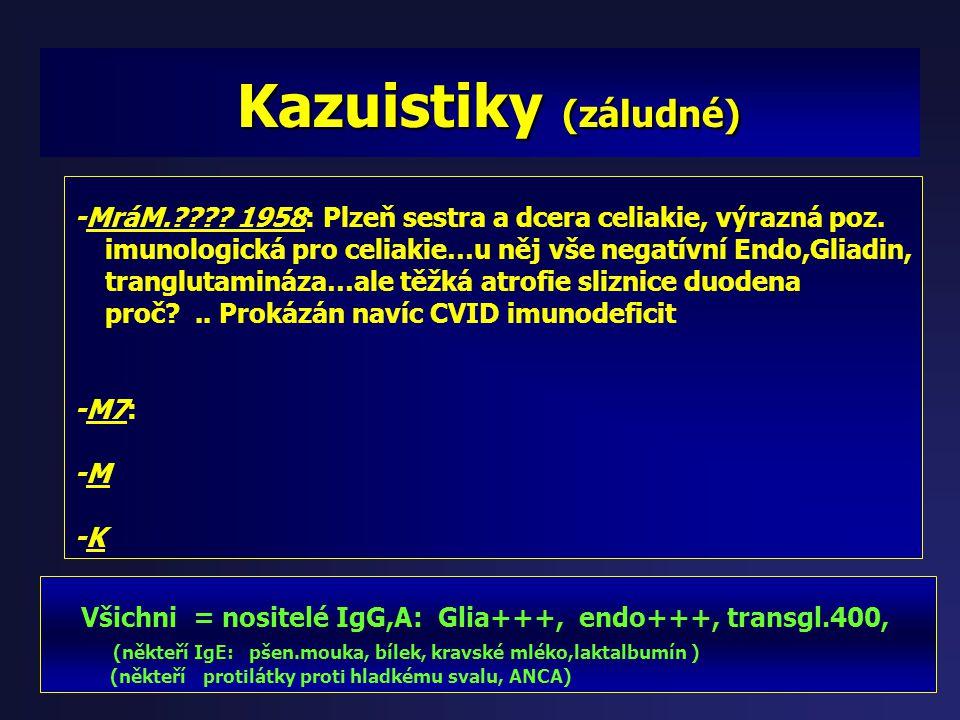 Kazuistiky (s deficity minerálů) Kazuistiky (s deficity minerálů) Všichni = nositelé IgG,A: Glia+++, endo+++, transgl.400, (někteří IgE: pšen.mouka, b