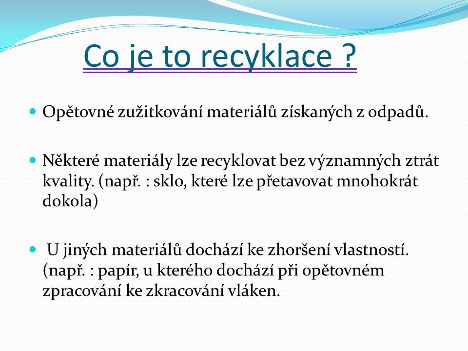 Co je to recyklace ? Opětovné zužitkování materiálů získaných z odpadů. Některé materiály lze recyklovat bez významných ztrát kvality. (např. : sklo,
