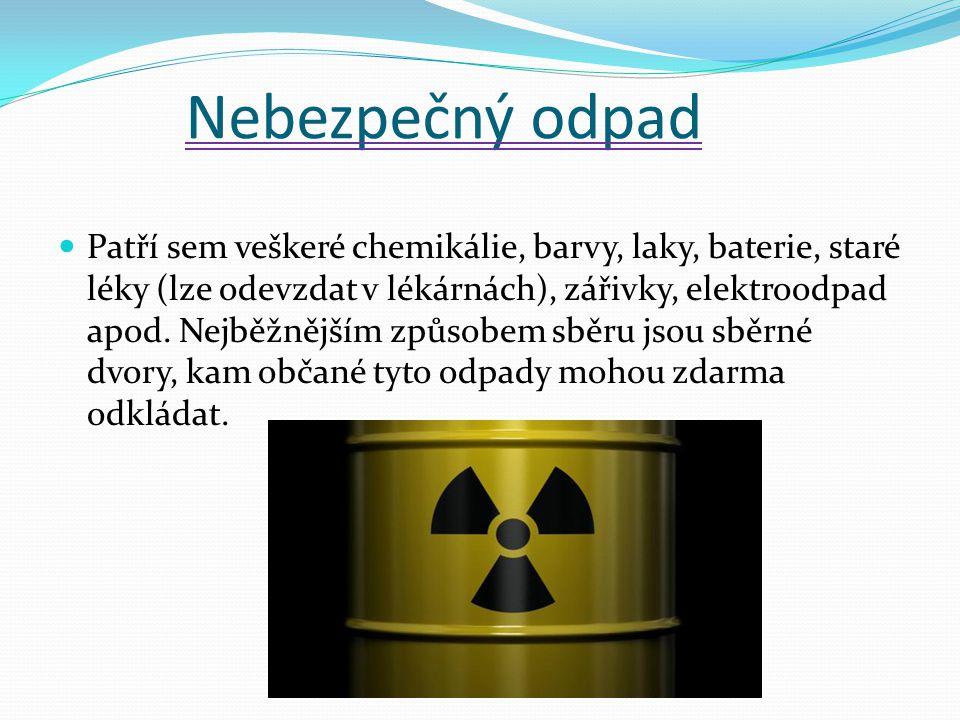 Nebezpečný odpad Patří sem veškeré chemikálie, barvy, laky, baterie, staré léky (lze odevzdat v lékárnách), zářivky, elektroodpad apod. Nejběžnějším z
