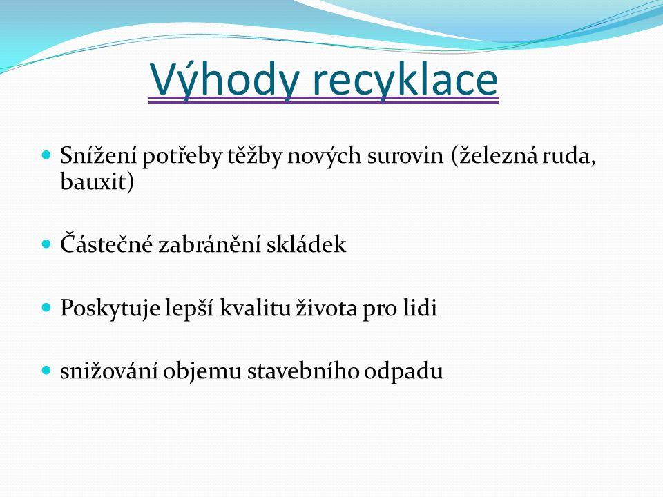 Výhody recyklace Snížení potřeby těžby nových surovin (železná ruda, bauxit) Částečné zabránění skládek Poskytuje lepší kvalitu života pro lidi snižov