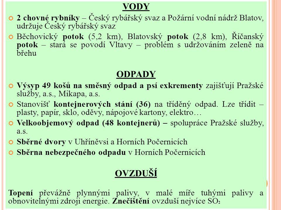 VODY 2 chovné rybníky – Český rybářský svaz a Požární vodní nádrž Blatov, udržuje Český rybářský svaz Běchovický potok (5,2 km), Blatovský potok (2,8 km), Říčanský potok – stará se povodí Vltavy – problém s udržováním zeleně na břehu ODPADY Výsyp 49 košů na směsný odpad a psí exkrementy zajišťují Pražské služby, a.s., Mikapa, a.s.