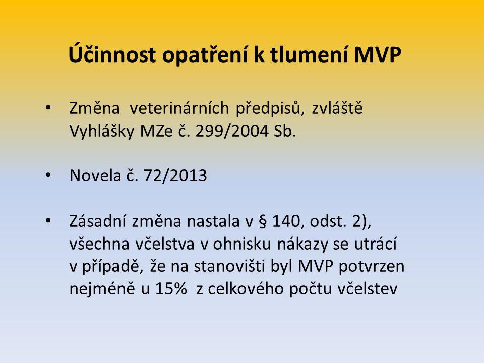 Účinnost opatření k tlumení MVP Změna veterinárních předpisů, zvláště Vyhlášky MZe č. 299/2004 Sb. Novela č. 72/2013 Zásadní změna nastala v § 140, od