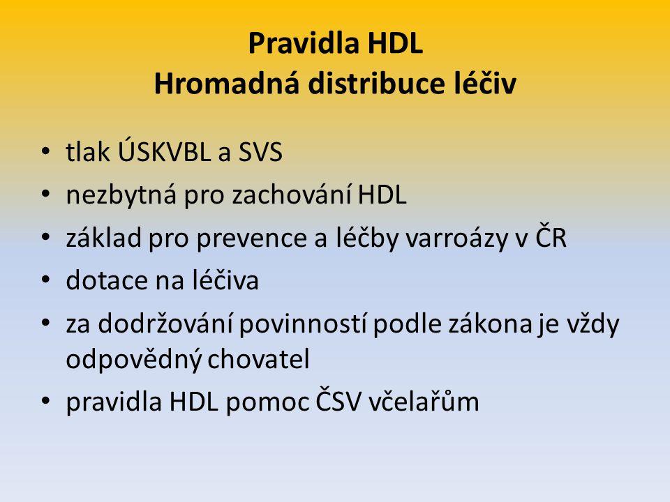 Pravidla HDL Hromadná distribuce léčiv tlak ÚSKVBL a SVS nezbytná pro zachování HDL základ pro prevence a léčby varroázy v ČR dotace na léčiva za dodr