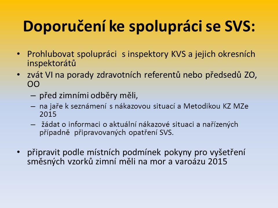 Doporučení ke spolupráci se SVS: Prohlubovat spolupráci s inspektory KVS a jejich okresních inspektorátů zvát VI na porady zdravotních referentů nebo
