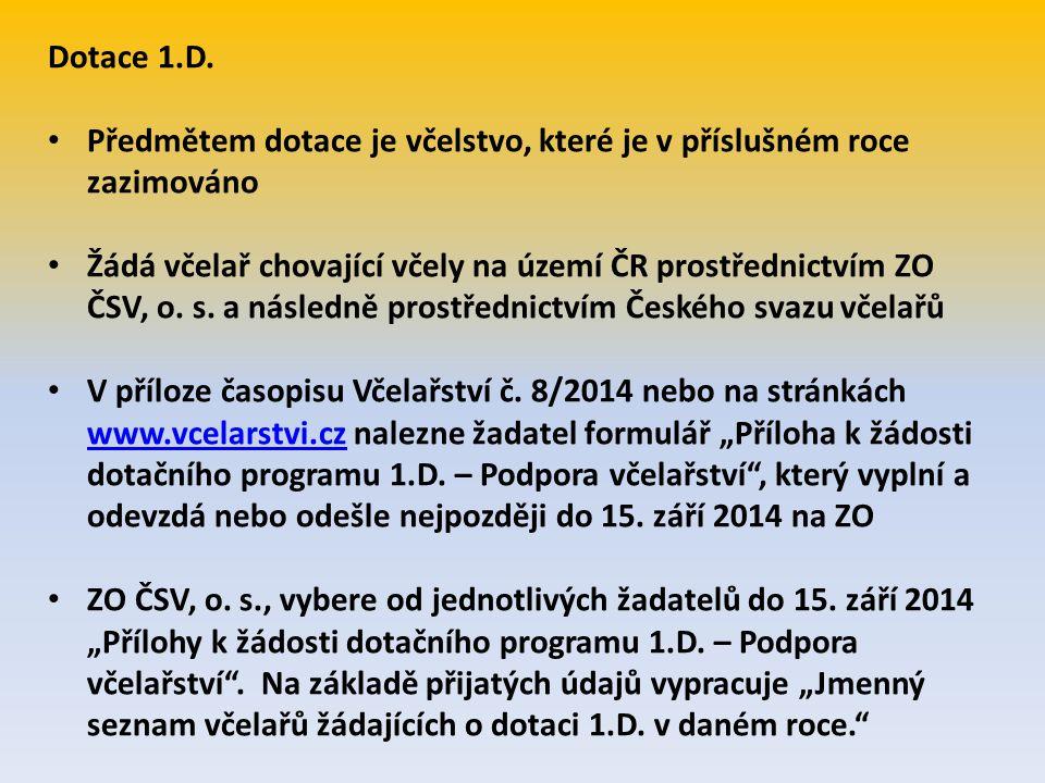Dotace 1.D. Předmětem dotace je včelstvo, které je v příslušném roce zazimováno Žádá včelař chovající včely na území ČR prostřednictvím ZO ČSV, o. s.