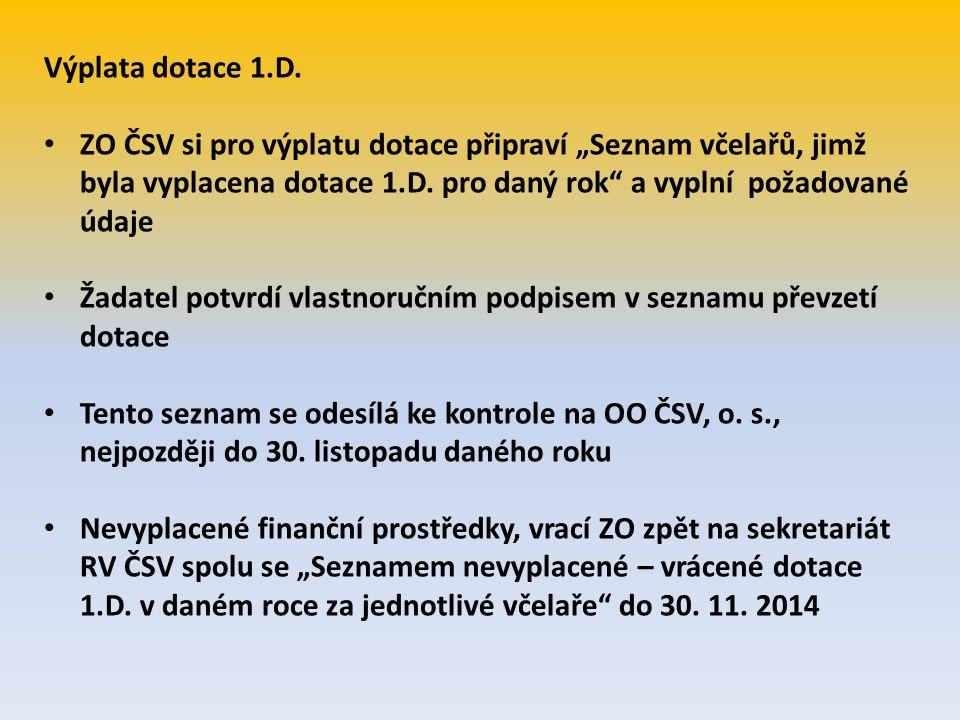 """Výplata dotace 1.D. ZO ČSV si pro výplatu dotace připraví """"Seznam včelařů, jimž byla vyplacena dotace 1.D. pro daný rok"""" a vyplní požadované údaje Žad"""