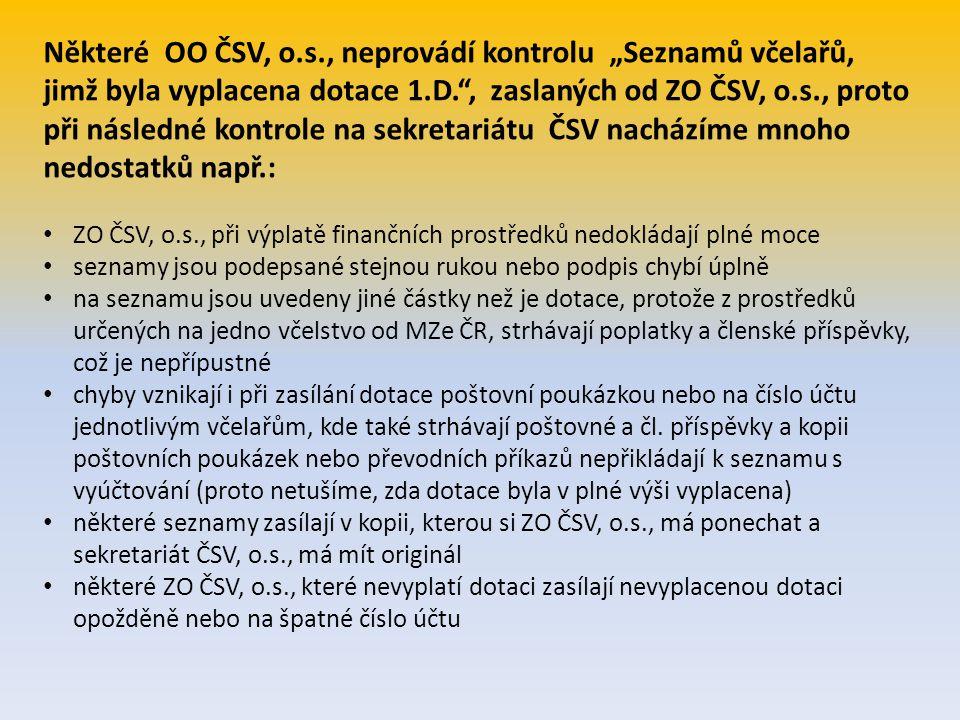 """Některé OO ČSV, o.s., neprovádí kontrolu """"Seznamů včelařů, jimž byla vyplacena dotace 1.D."""", zaslaných od ZO ČSV, o.s., proto při následné kontrole na"""