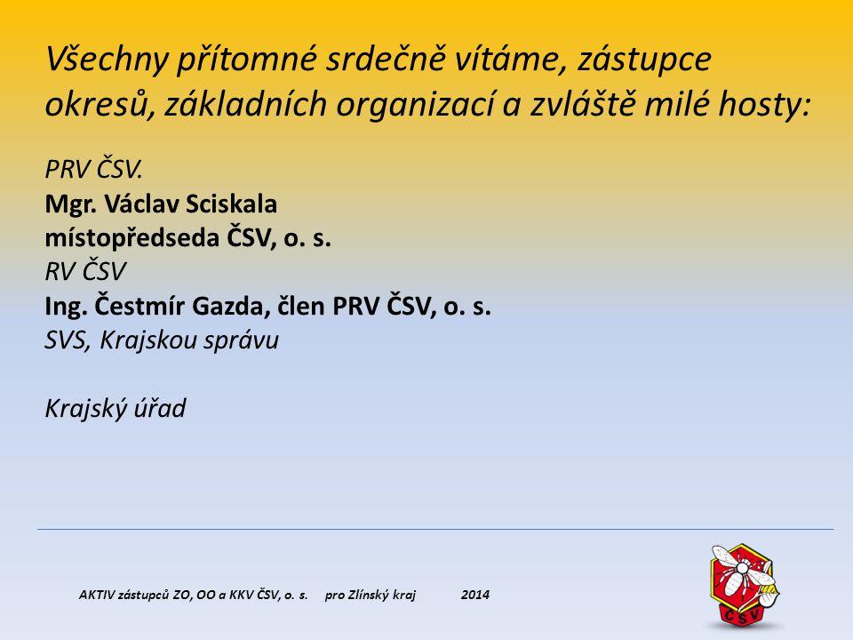 AKTIV zástupců ZO, OO a KKV ČSV, o. s. pro Zlínský kraj 2014 Všechny přítomné srdečně vítáme, zástupce okresů, základních organizací a zvláště milé ho