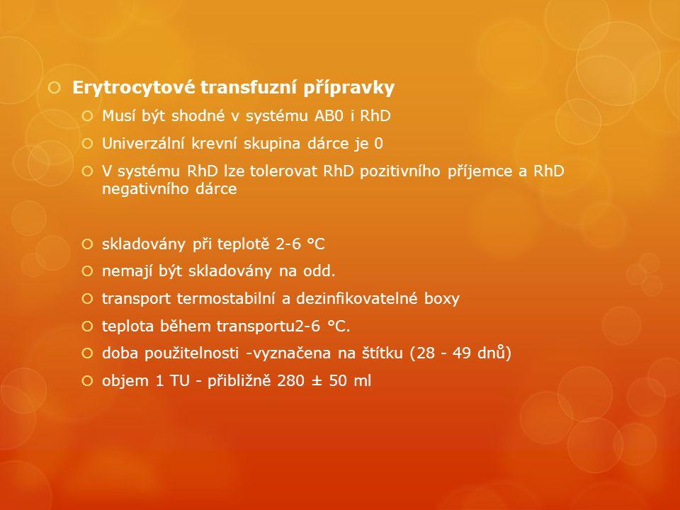 Erytrocytové transfuzní přípravky  Musí být shodné v systému AB0 i RhD  Univerzální krevní skupina dárce je 0  V systému RhD lze tolerovat RhD pozitivního příjemce a RhD negativního dárce  skladovány při teplotě 2-6 °C  nemají být skladovány na odd.