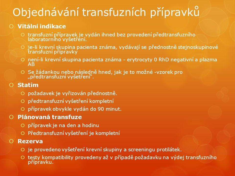 Objednávání transfuzních přípravků  Vitální indikace  transfuzní přípravek je vydán ihned bez provedení předtransfuzního laboratorního vyšetření.