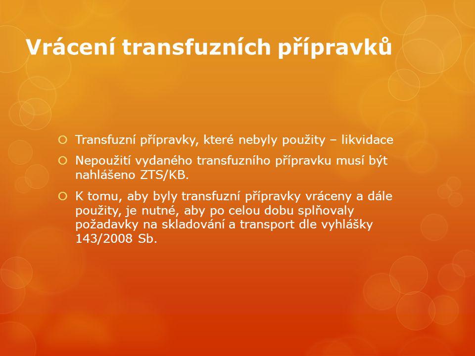 Vrácení transfuzních přípravků  Transfuzní přípravky, které nebyly použity – likvidace  Nepoužití vydaného transfuzního přípravku musí být nahlášeno ZTS/KB.