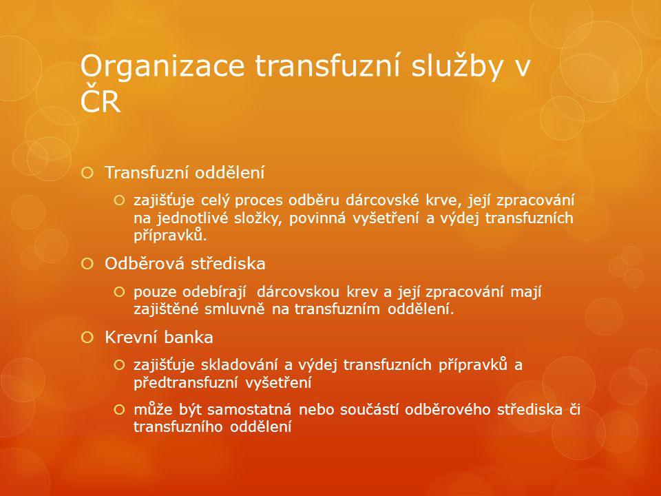 Organizace transfuzní služby v ČR  Transfuzní oddělení  zajišťuje celý proces odběru dárcovské krve, její zpracování na jednotlivé složky, povinná vyšetření a výdej transfuzních přípravků.