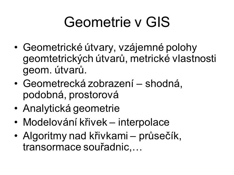 Geometrie v GIS Geometrické útvary, vzájemné polohy geomtetrických útvarů, metrické vlastnosti geom.