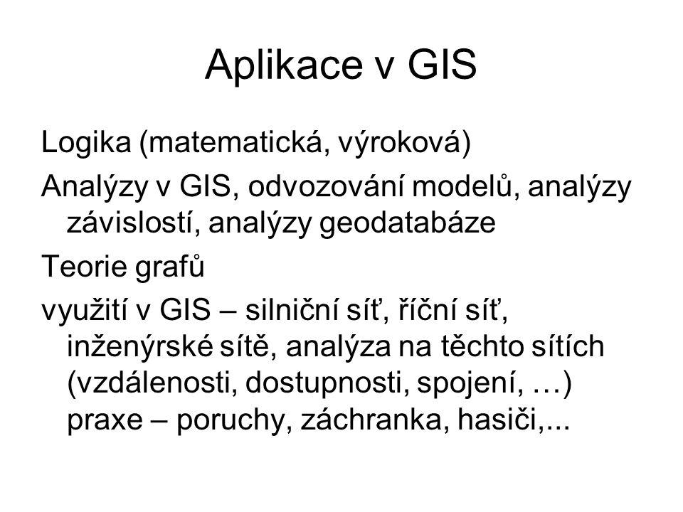 Aplikace v GIS Logika (matematická, výroková) Analýzy v GIS, odvozování modelů, analýzy závislostí, analýzy geodatabáze Teorie grafů využití v GIS – silniční síť, říční síť, inženýrské sítě, analýza na těchto sítích (vzdálenosti, dostupnosti, spojení, …) praxe – poruchy, záchranka, hasiči,...