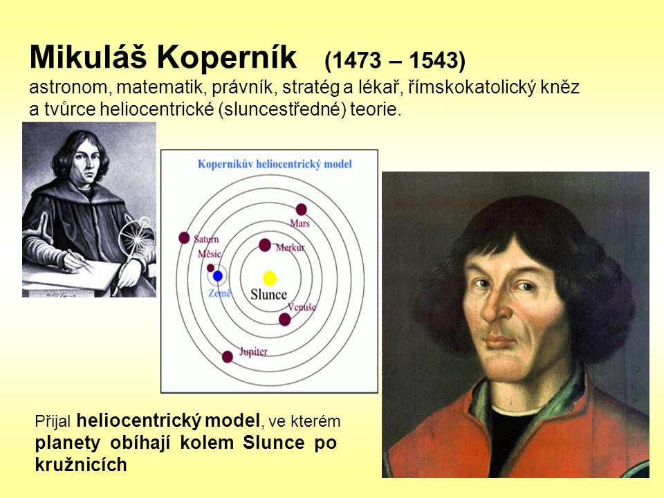 Mikuláš Koperník (1473 – 1543) astronom, matematik, právník, stratég a lékař, římskokatolický kněz a tvůrce heliocentrické (sluncestředné) teorie. Při