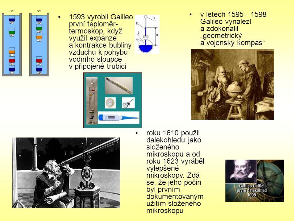 """v letech 1595 - 1598 Galileo vynalezl a zdokonalil """"geometrický a vojenský kompas"""" roku 1610 použil dalekohledu jako složeného mikroskopu a od roku 16"""