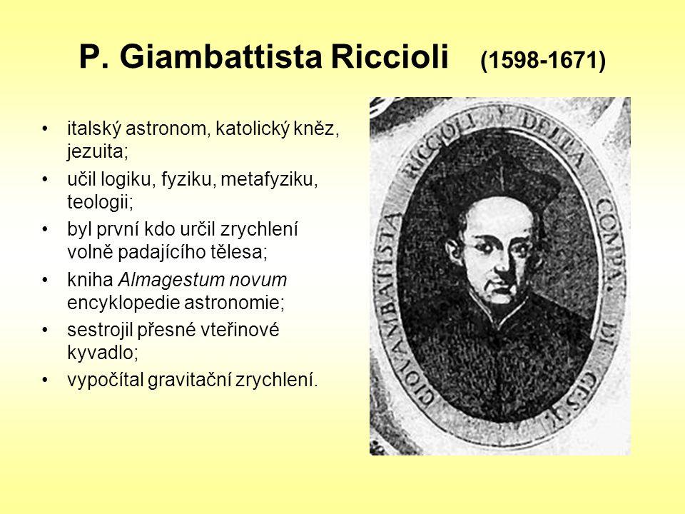 P. Giambattista Riccioli (1598-1671) italský astronom, katolický kněz, jezuita; učil logiku, fyziku, metafyziku, teologii; byl první kdo určil zrychle