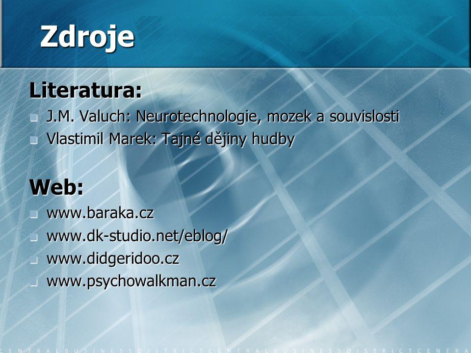 Zdroje Literatura: J.M.Valuch: Neurotechnologie, mozek a souvislosti J.M.