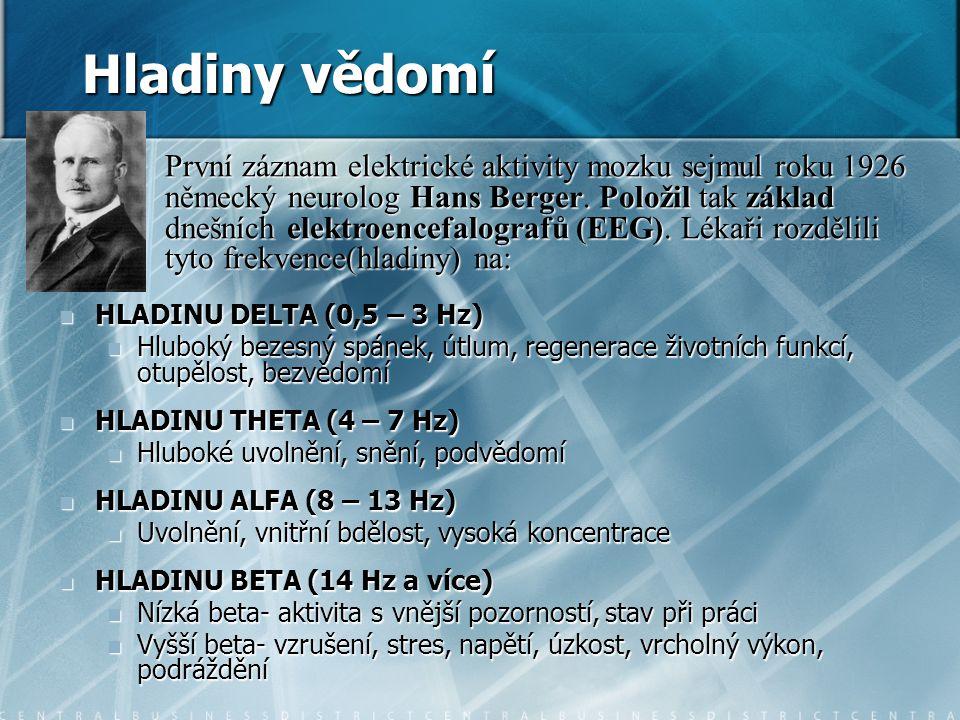 Hladiny vědomí HLADINU DELTA (0,5 – 3 Hz) HLADINU DELTA (0,5 – 3 Hz) Hluboký bezesný spánek, útlum, regenerace životních funkcí, otupělost, bezvědomí Hluboký bezesný spánek, útlum, regenerace životních funkcí, otupělost, bezvědomí HLADINU THETA (4 – 7 Hz) HLADINU THETA (4 – 7 Hz) Hluboké uvolnění, snění, podvědomí Hluboké uvolnění, snění, podvědomí HLADINU ALFA (8 – 13 Hz) HLADINU ALFA (8 – 13 Hz) Uvolnění, vnitřní bdělost, vysoká koncentrace Uvolnění, vnitřní bdělost, vysoká koncentrace HLADINU BETA (14 Hz a více) HLADINU BETA (14 Hz a více) Nízká beta- aktivita s vnější pozorností, stav při práci Nízká beta- aktivita s vnější pozorností, stav při práci Vyšší beta- vzrušení, stres, napětí, úzkost, vrcholný výkon, podráždění Vyšší beta- vzrušení, stres, napětí, úzkost, vrcholný výkon, podráždění První záznam elektrické aktivity mozku sejmul roku 1926 německý neurolog Hans Berger.
