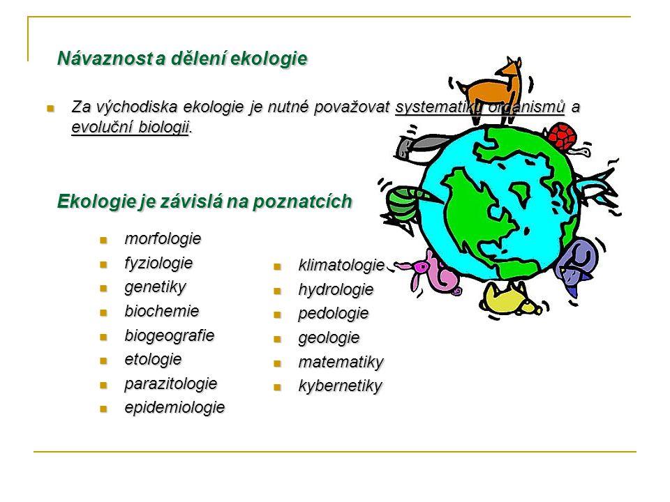 Návaznost a dělení ekologie Za východiska ekologie je nutné považovat systematiku organismů a evoluční biologii.