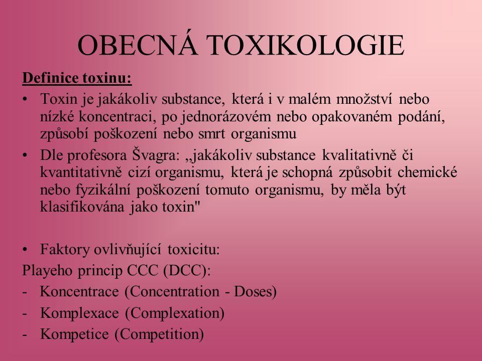 """OBECNÁ TOXIKOLOGIE Definice toxinu: Toxin je jakákoliv substance, která i v malém množství nebo nízké koncentraci, po jednorázovém nebo opakovaném podání, způsobí poškození nebo smrt organismu Dle profesora Švagra: """"jakákoliv substance kvalitativně či kvantitativně cizí organismu, která je schopná způsobit chemické nebo fyzikální poškození tomuto organismu, by měla být klasifikována jako toxin Faktory ovlivňující toxicitu: Playeho princip CCC (DCC): - Koncentrace (Concentration - Doses) -Komplexace (Complexation) -Kompetice (Competition)"""
