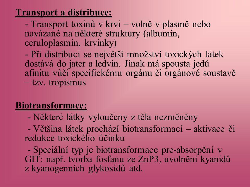Transport a distribuce: - Transport toxinů v krvi – volně v plasmě nebo navázané na některé struktury (albumin, ceruloplasmin, krvinky) - Při distribuci se největší množství toxických látek dostává do jater a ledvin.