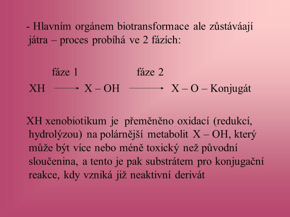 - Hlavním orgánem biotransformace ale zůstáváají játra – proces probíhá ve 2 fázích: fáze 1 fáze 2 XH X – OH X – O – Konjugát XH xenobiotikum je přeměněno oxidací (redukcí, hydrolýzou) na polárnější metabolit X – OH, který může být více nebo méně toxický než původní sloučenina, a tento je pak substrátem pro konjugační reakce, kdy vzniká již neaktivní derivát