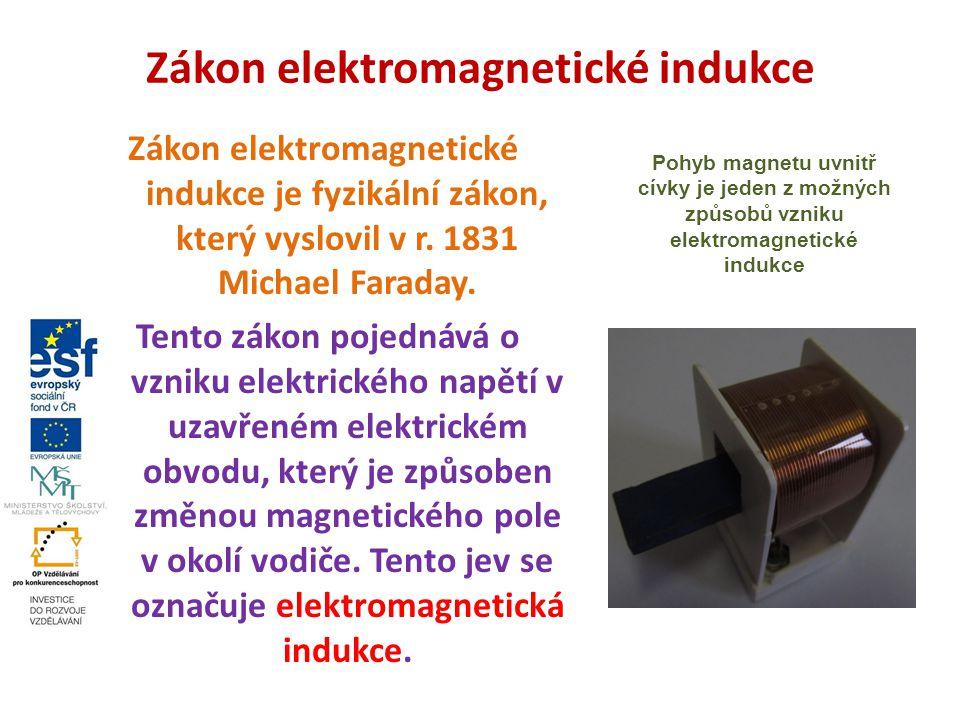 Vznik indukovaného napětí Elektrickým obvodem může začít procházet elektrický proud, pokud nastane jedna či více z následujících situací: smyčka vodiče se začne pohybovat zdroje magnetického pole (magnety) se začnou pohybovat magnetické pole se začne měnit, např.