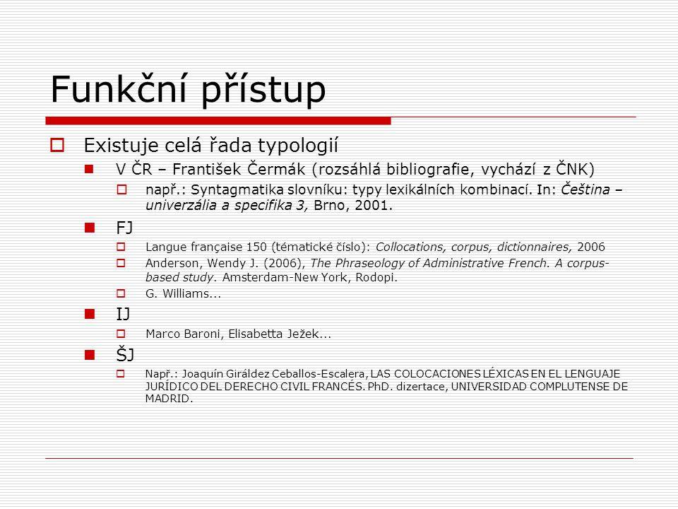 Funkční přístup  Existuje celá řada typologií V ČR – František Čermák (rozsáhlá bibliografie, vychází z ČNK)  např.: Syntagmatika slovníku: typy lex