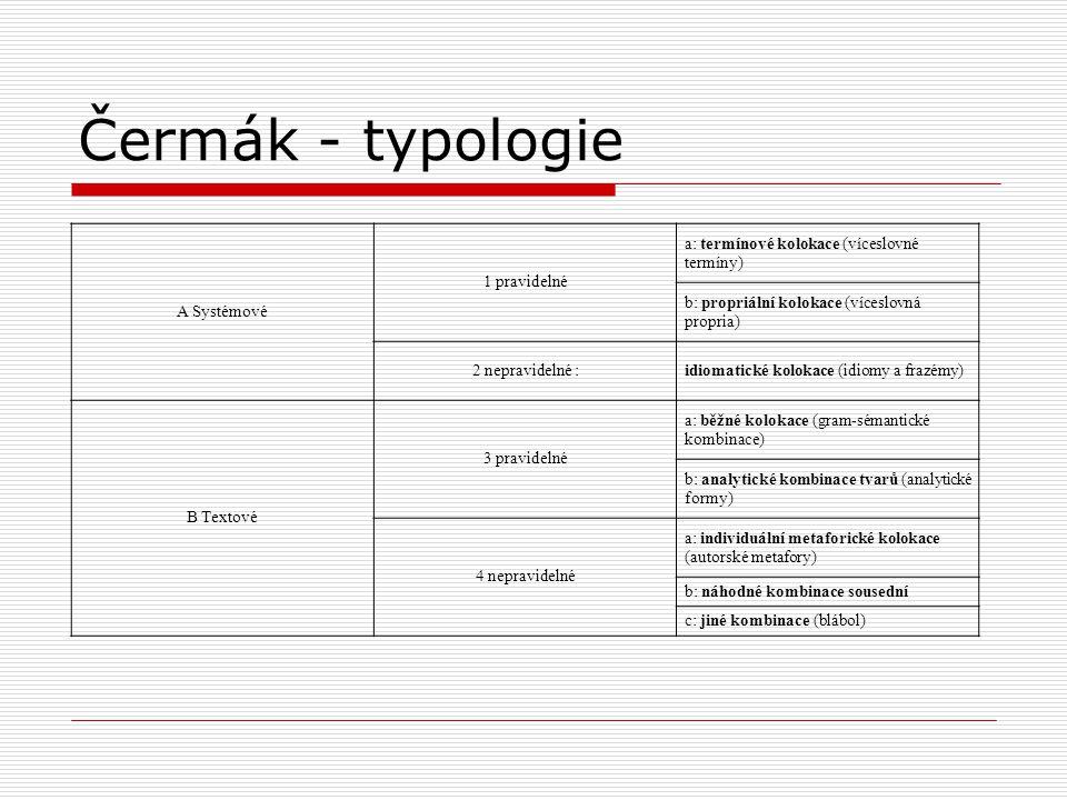 Čermák - typologie A Systémové 1 pravidelné a: termínové kolokace (víceslovné termíny) b: propriální kolokace (víceslovná propria) 2 nepravidelné :idi