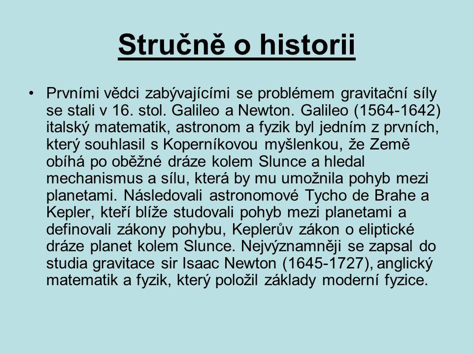 Stručně o historii Prvními vědci zabývajícími se problémem gravitační síly se stali v 16. stol. Galileo a Newton. Galileo (1564-1642) italský matemati