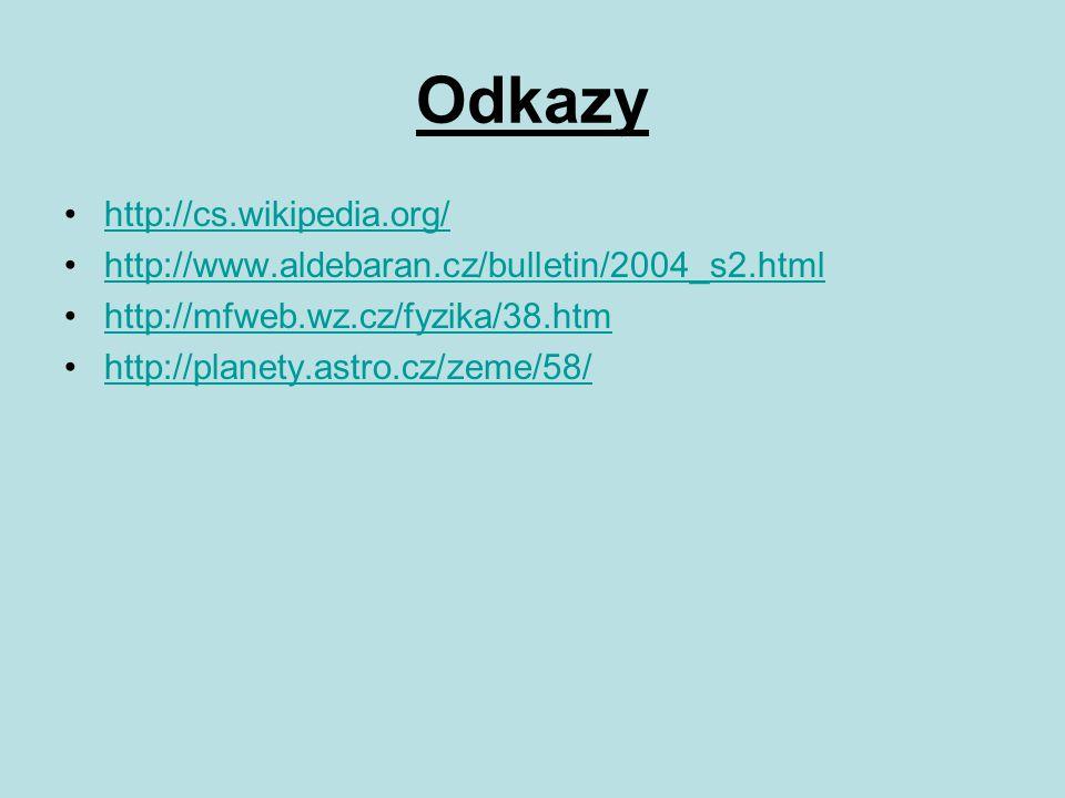 Odkazy http://cs.wikipedia.org/ http://www.aldebaran.cz/bulletin/2004_s2.html http://mfweb.wz.cz/fyzika/38.htm http://planety.astro.cz/zeme/58/