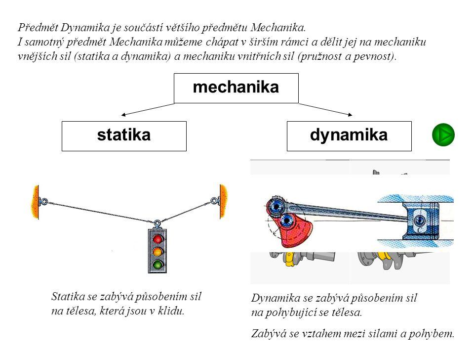 Dynamika I, 1. přednáška mechanika dynamikastatika Předmět Dynamika je součástí většího předmětu Mechanika. I samotný předmět Mechanika můžeme chápat