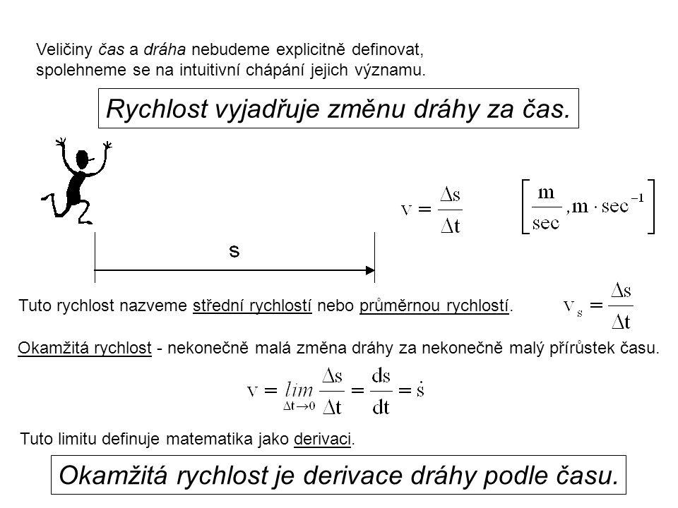 Dynamika I, 1. přednáška Veličiny čas a dráha nebudeme explicitně definovat, spolehneme se na intuitivní chápání jejich významu. Rychlost vyjadřuje zm