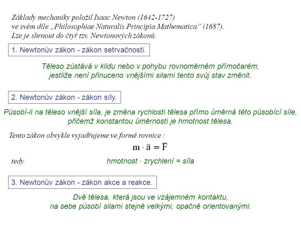 Dynamika I, 1. přednáška 1. Newtonův zákon - zákon setrvačnosti. Těleso zůstává v klidu nebo v pohybu rovnoměrném přímočarém, jestliže není přinuceno