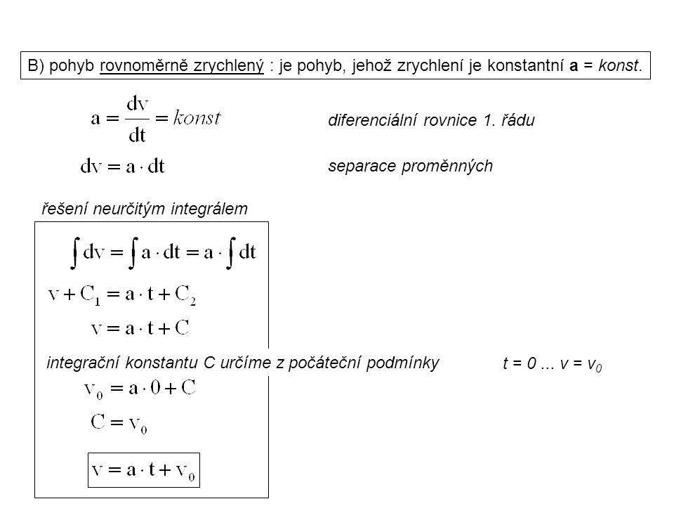 Dynamika I, 1. přednáška B) pohyb rovnoměrně zrychlený : je pohyb, jehož zrychlení je konstantní a = konst. řešení neurčitým integrálem t = 0... v = v