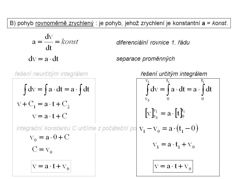 integrační konstantu C určíme z počáteční podmínky Dynamika I, 1. přednáška B) pohyb rovnoměrně zrychlený : je pohyb, jehož zrychlení je konstantní a