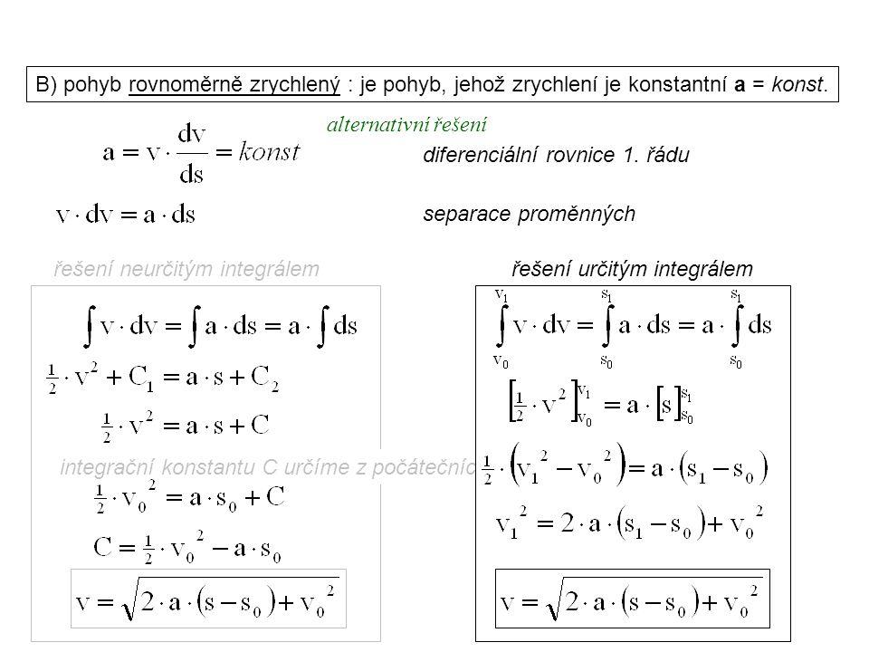 Dynamika I, 1. přednáška B) pohyb rovnoměrně zrychlený : je pohyb, jehož zrychlení je konstantní a = konst. separace proměnných řešení neurčitým integ