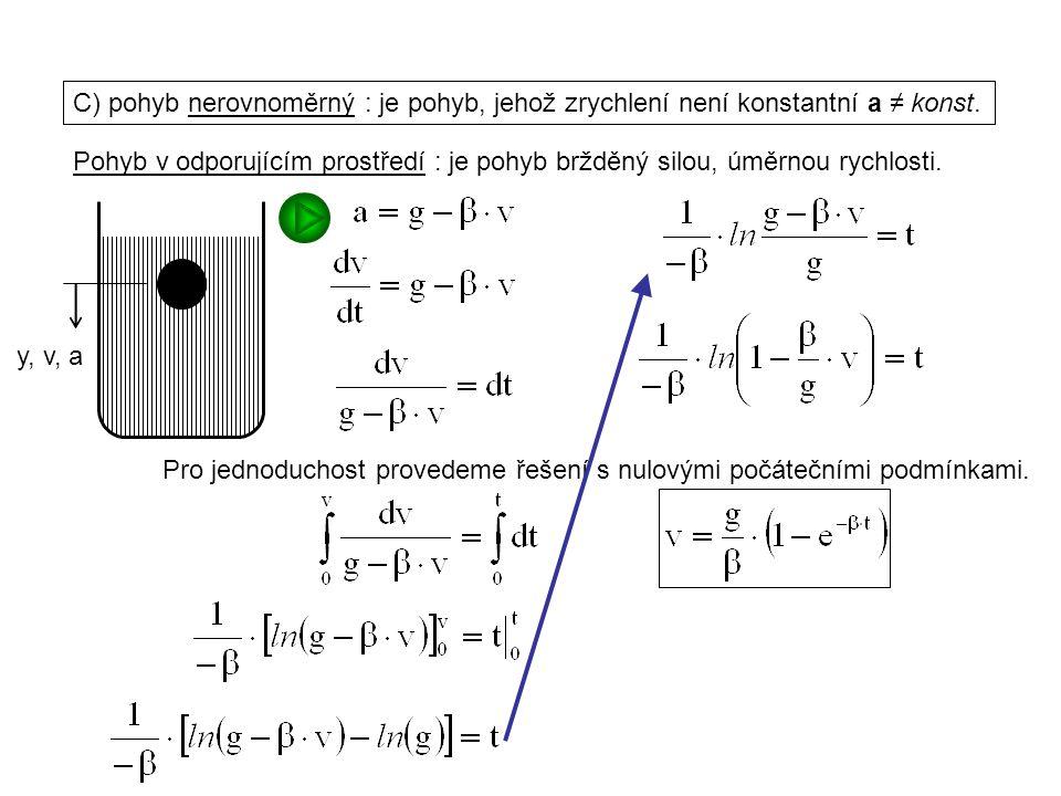 Dynamika I, 1. přednáška C) pohyb nerovnoměrný : je pohyb, jehož zrychlení není konstantní a ≠ konst. Pohyb v odporujícím prostředí : je pohyb bržděný