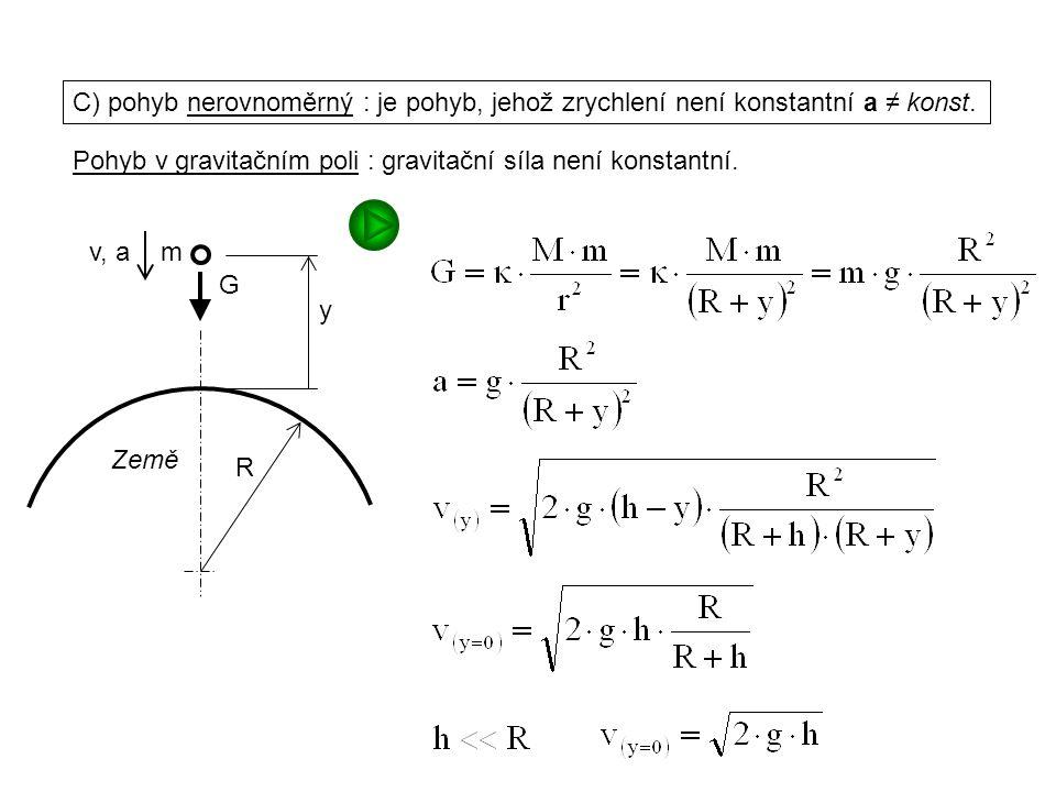 Dynamika I, 1. přednáška C) pohyb nerovnoměrný : je pohyb, jehož zrychlení není konstantní a ≠ konst. Pohyb v gravitačním poli : gravitační síla není