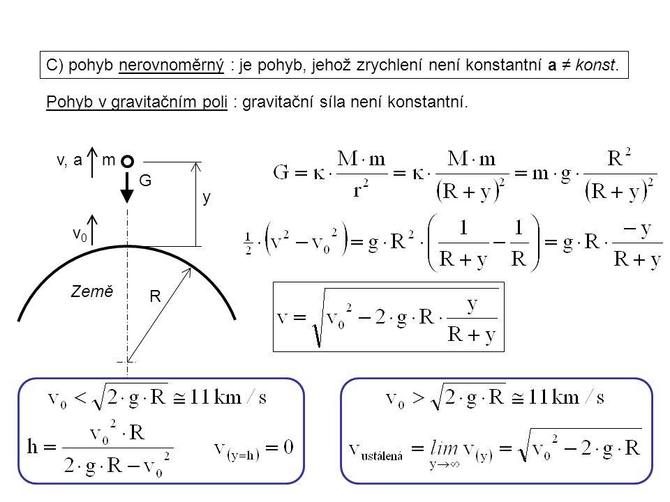Dynamika I, 1. přednáška C) pohyb nerovnoměrný : je pohyb, jehož zrychlení není konstantní a ≠ konst. v, a Pohyb v gravitačním poli : gravitační síla