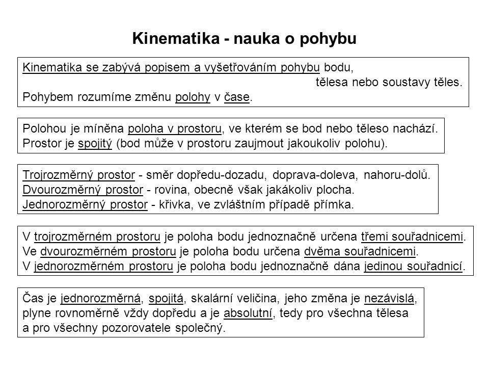 Dynamika I, 1. přednáška Kinematika - nauka o pohybu Kinematika se zabývá popisem a vyšetřováním pohybu bodu, tělesa nebo soustavy těles. Pohybem rozu