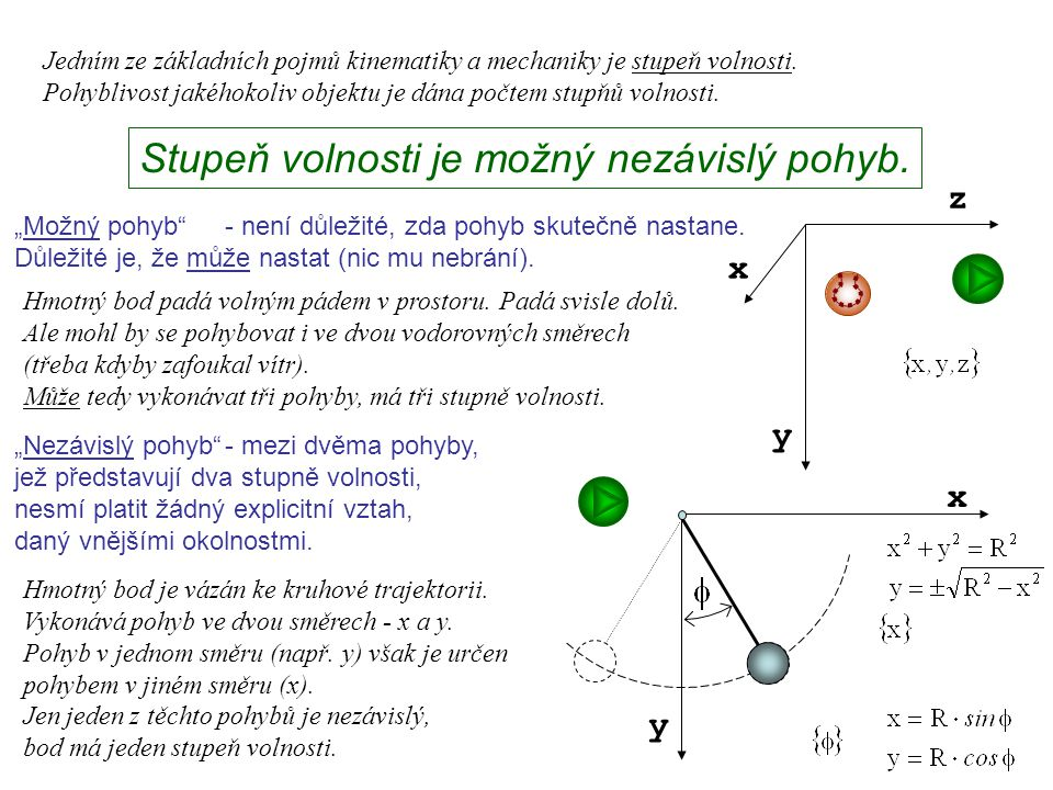 Dynamika I, 1. přednáška Jedním ze základních pojmů kinematiky a mechaniky je stupeň volnosti. Pohyblivost jakéhokoliv objektu je dána počtem stupňů v