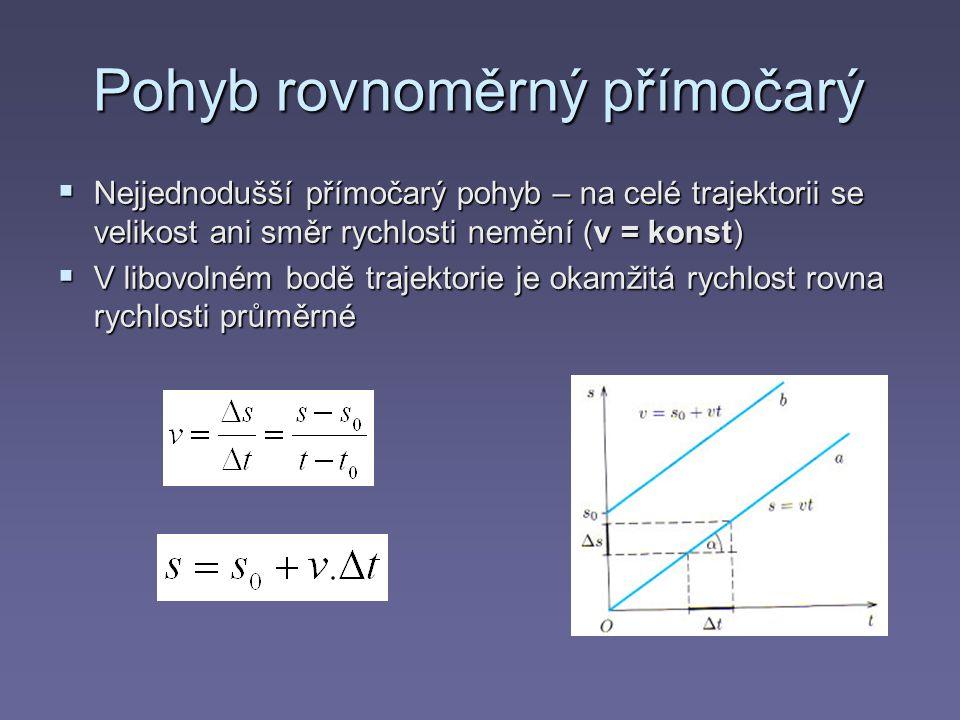 Pohyb rovnoměrný přímočarý  Nejjednodušší přímočarý pohyb – na celé trajektorii se velikost ani směr rychlosti nemění (v = konst)  V libovolném bodě