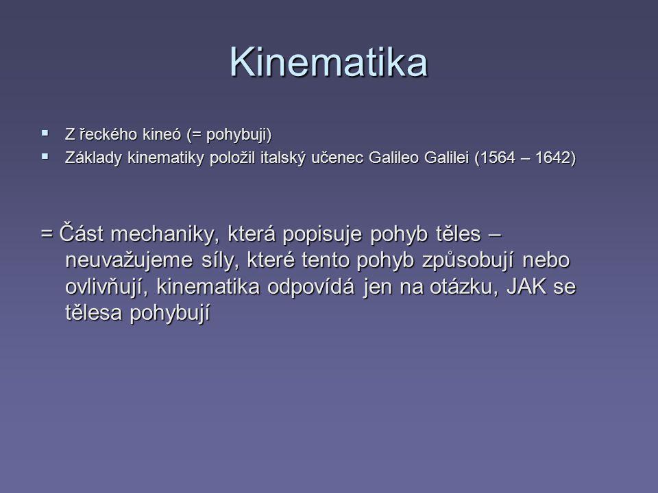 Kinematika  Z řeckého kineó (= pohybuji)  Základy kinematiky položil italský učenec Galileo Galilei (1564 – 1642) = Část mechaniky, která popisuje p