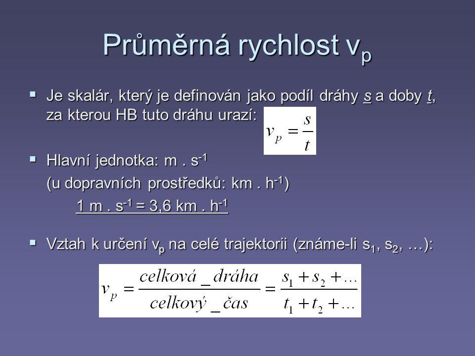 Okamžitá rychlost v  V daném bodě a v daném čase je definována jako průměrná rychlost ve velmi malém časovém intervalu a na velmi malém úseku trajektorie  V daném bodě je to vektor, který leží v tečně v uvažovaném bodě této trajektorie a jeho směr je určen směrem pohybu Změna polohového vektoru Δr Změna polohového vektoru Δr (k níž dojde při pohybu HB za dobu Δt, je dána rozdílem obou polohových vektorů : Δr = r´ – r Okamžitou rychlost HB definujeme vztahem Okamžitou rychlost HB definujeme vztahem: (kde Δt je velmi malé) Velikost okamžité rychlosti definujeme vztahem: |r| (kde Δt je velmi malé a výraz |r| vyjadřuje velikost změny polohového vektoru během ↓ Δt )