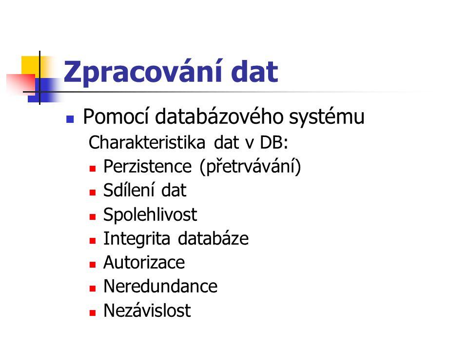 Zpracování dat Pomocí databázového systému Charakteristika dat v DB: Perzistence (přetrvávání) Sdílení dat Spolehlivost Integrita databáze Autorizace